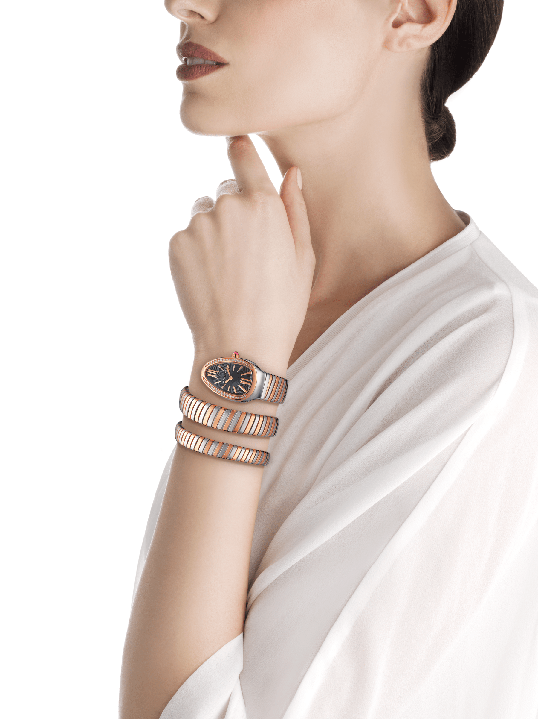 Serpenti Tubogas double spiral watch with stainless steel case, 18 kt rose gold bezel set with brilliant cut diamonds, black opaline dial, 18 kt rose gold and stainless steel bracelet. 102099 image 4