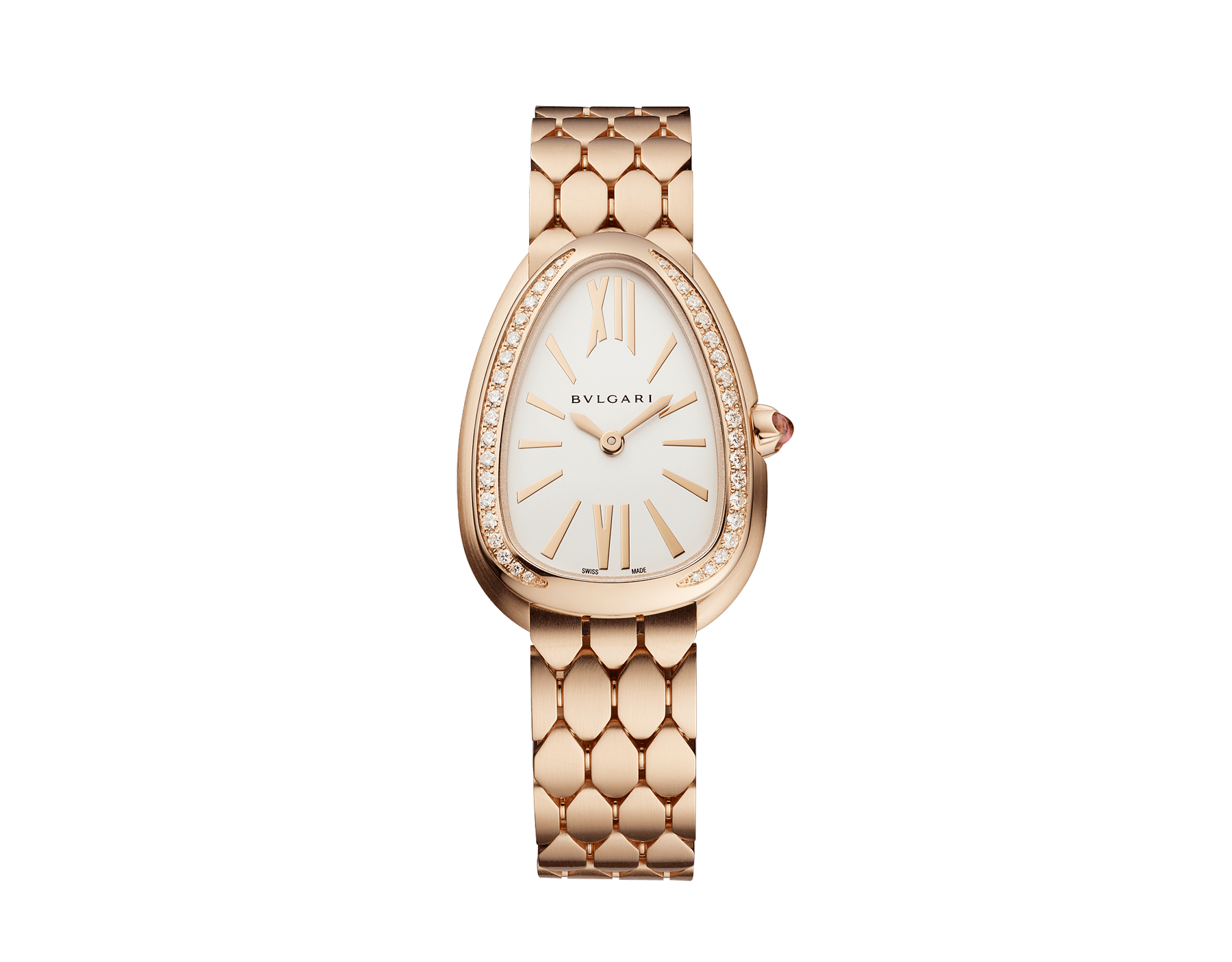 Serpenti Seduttori watch with 18 kt rose gold case, 18 kt rose gold bezel set with diamonds, white silver opaline dial and brushed 18 kt rose gold bracelet. 103169 image 1