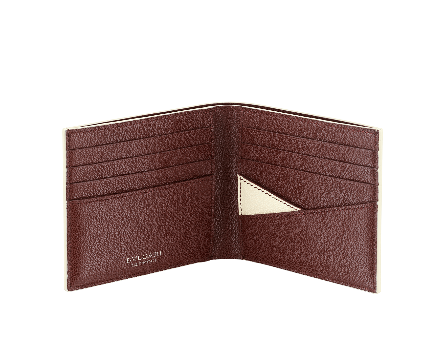 """""""BVLGARI BVLGARI"""" men's compact wallet in black and Forest Emerald green """"Urban"""" grain calf leather. Iconic logo embellishment in dark ruthenium-plated brass with black enamelling. BBM-WLT2FASYM image 2"""