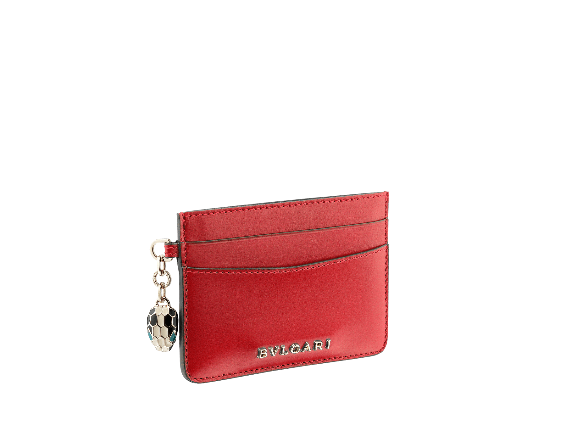 Credit card holder in ruby red and desert quartz calf leather. Serpenti charm in black and white enamel with green malachite enamel eyes and Bulgari logo in metal characters. 282020 image 1