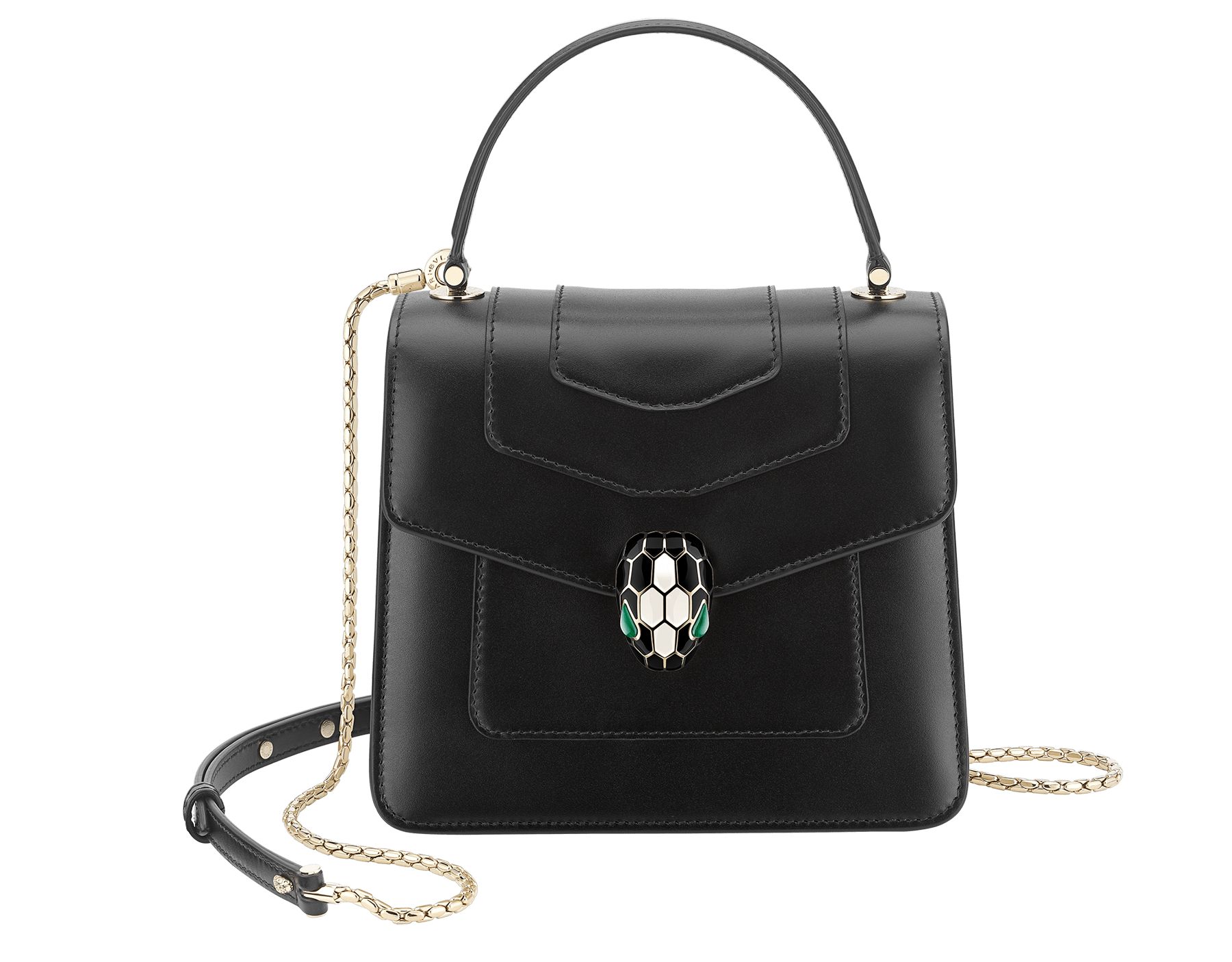 """""""Serpenti Forever"""" top-handle bag in black calfskin with emerald-green grosgrain inner lining. Iconic snakehead closure in light gold-plated brass embellished with black and agate-white enamel and green malachite eyes 1122-CLa image 1"""