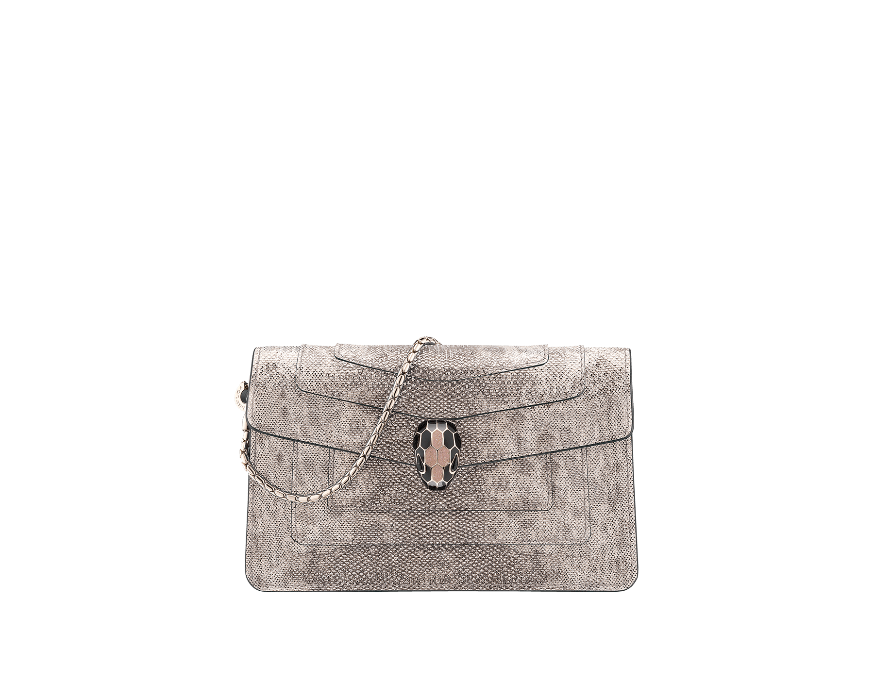 Serpenti Forever mini bag crafted in precious crystal rose metallic karung skin and carmine jasper calf leather, with brass light gold plated hardware. Iconic snakehead stud closure enameled in black and glitter silver and finished with black onyx eyes 287241 image 1