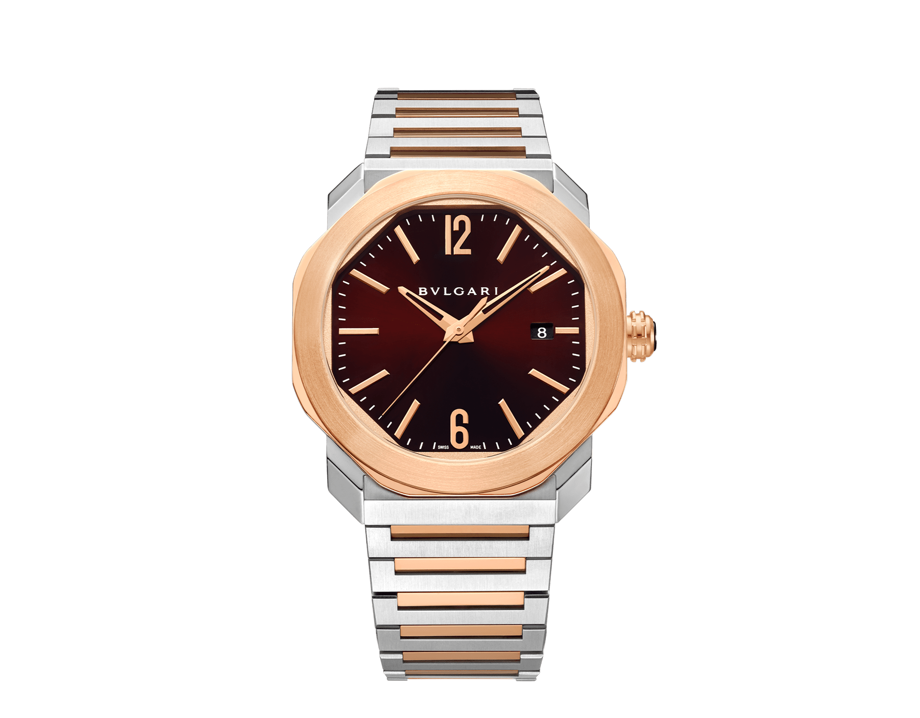 Octo Roma watch with mechanical manufacture movement, automatic winding, 18 kt rose gold and stainless steel case and bracelet, brown dial. 102854 image 1