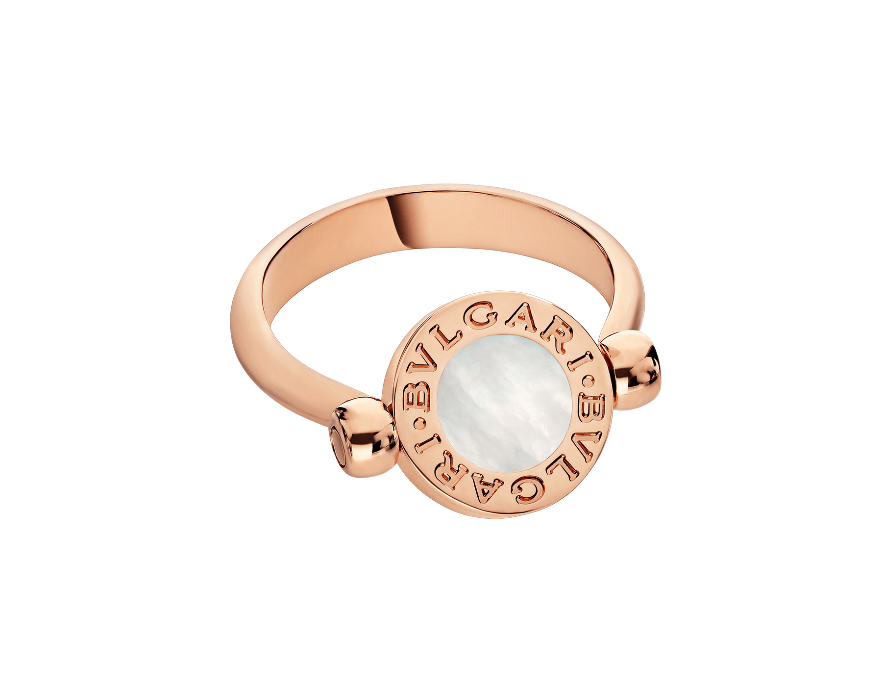 BVLGARI BVLGARI 18 kt rose gold flip ring set with mother-of-pearl and onyx AN856192 image 4