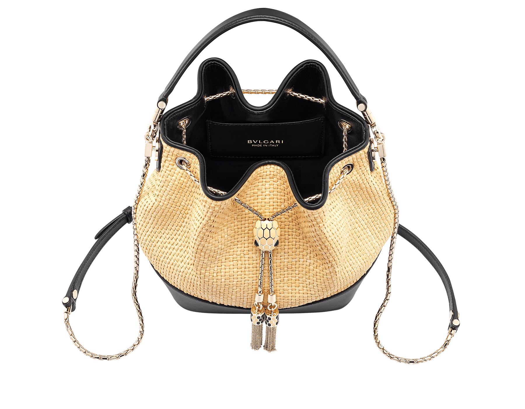 """Serpenti Forever"" small bucket bag in beige raffia and black calfskin, with black nappa leather internal lining. Alluring light gold-plated brass snakehead closure enhanced with full matte Natural beige enamel and black onyx eyes. 290960 image 2"