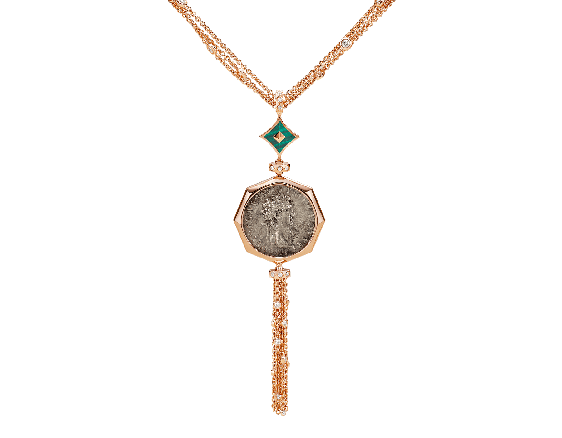 Monete 18 kt rose gold necklace set with an ancient coin, malachite elements and pavé diamonds 355962 image 1