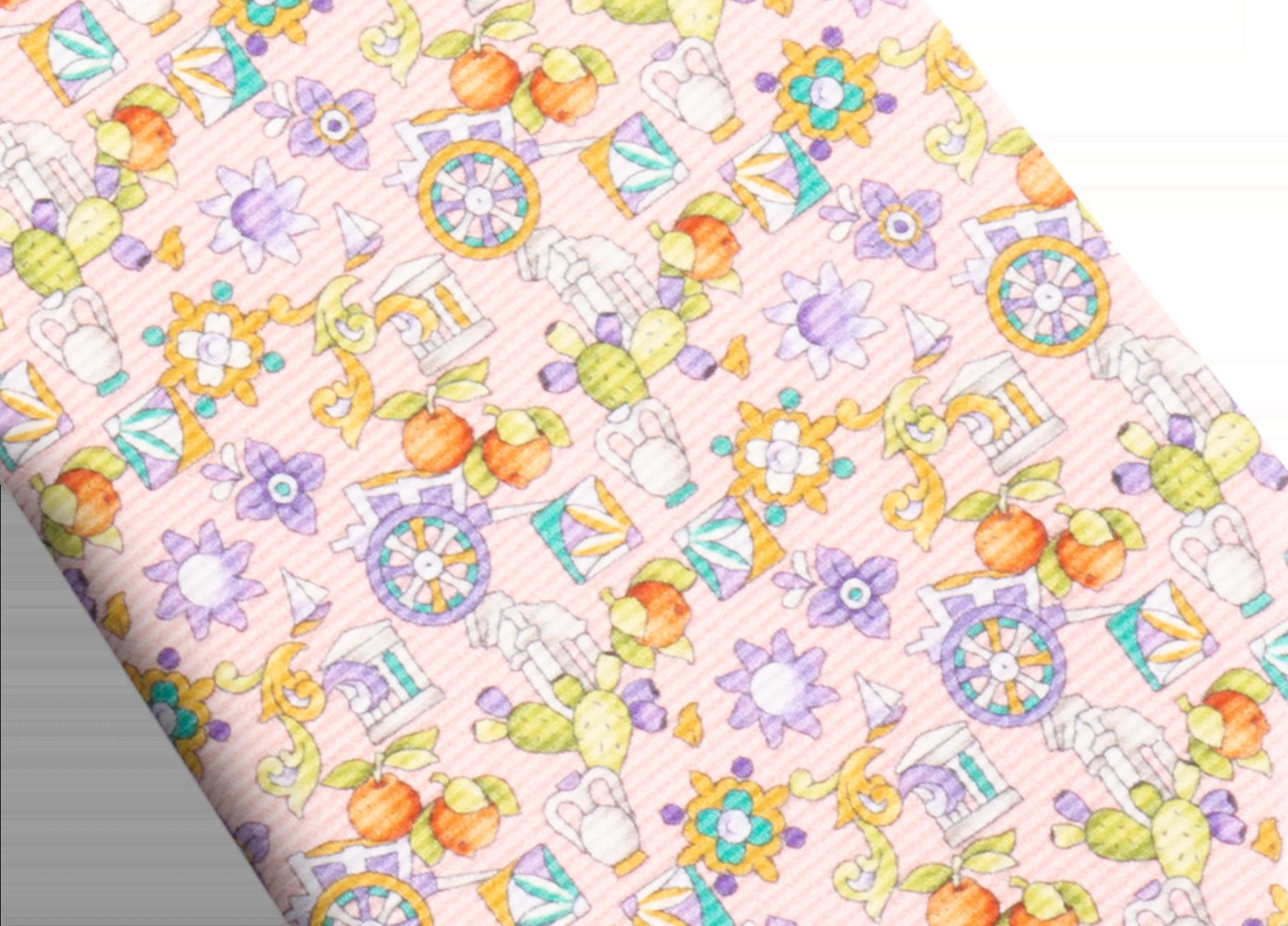 Cravatta sette pieghe rosa con motivo Sicily in pregiata seta saglione stampata. 244126 image 2
