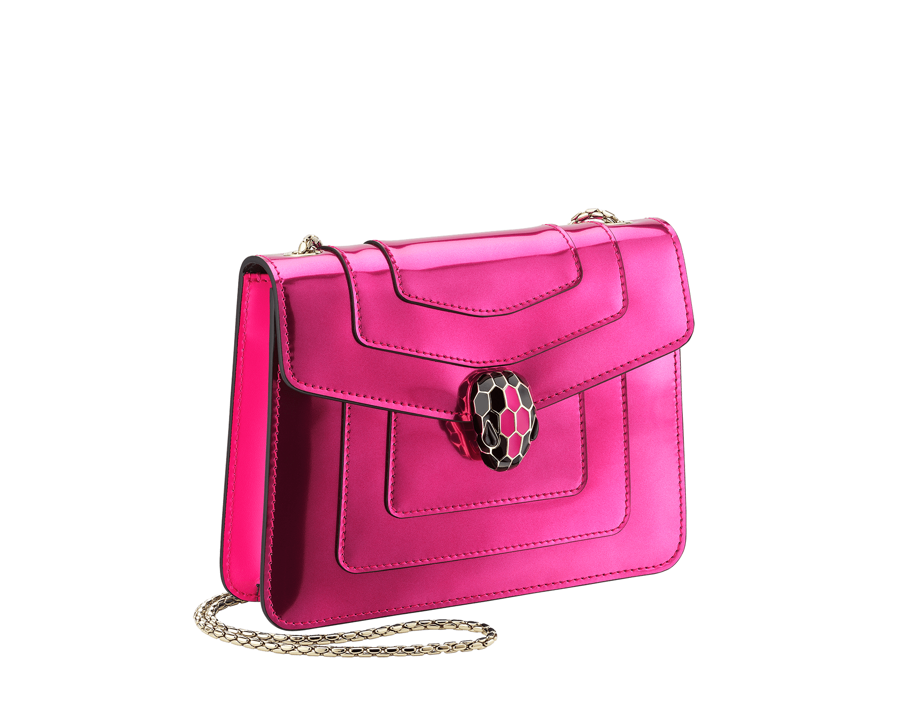 """Serpenti Forever"" crossbody bag in flash amethyst new brushed metallic calf leather. Iconic snake head closure in light gold plated brass enriched with black and flash amethyst enamel and black onyx eyes. 288885 image 2"