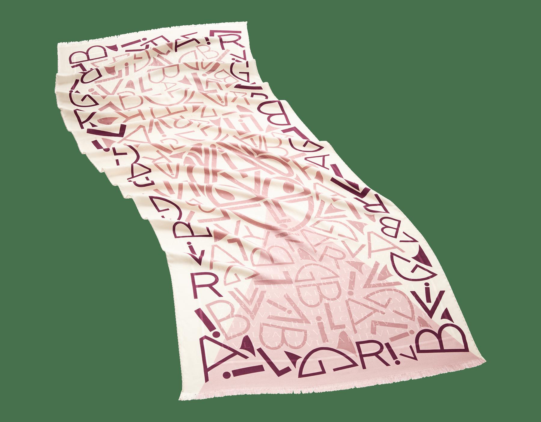 "Ivory Opal white ""Lettere Maxi Tangram"" stole in fine printed silk wool. LETTEREMAXITANGR image 1"