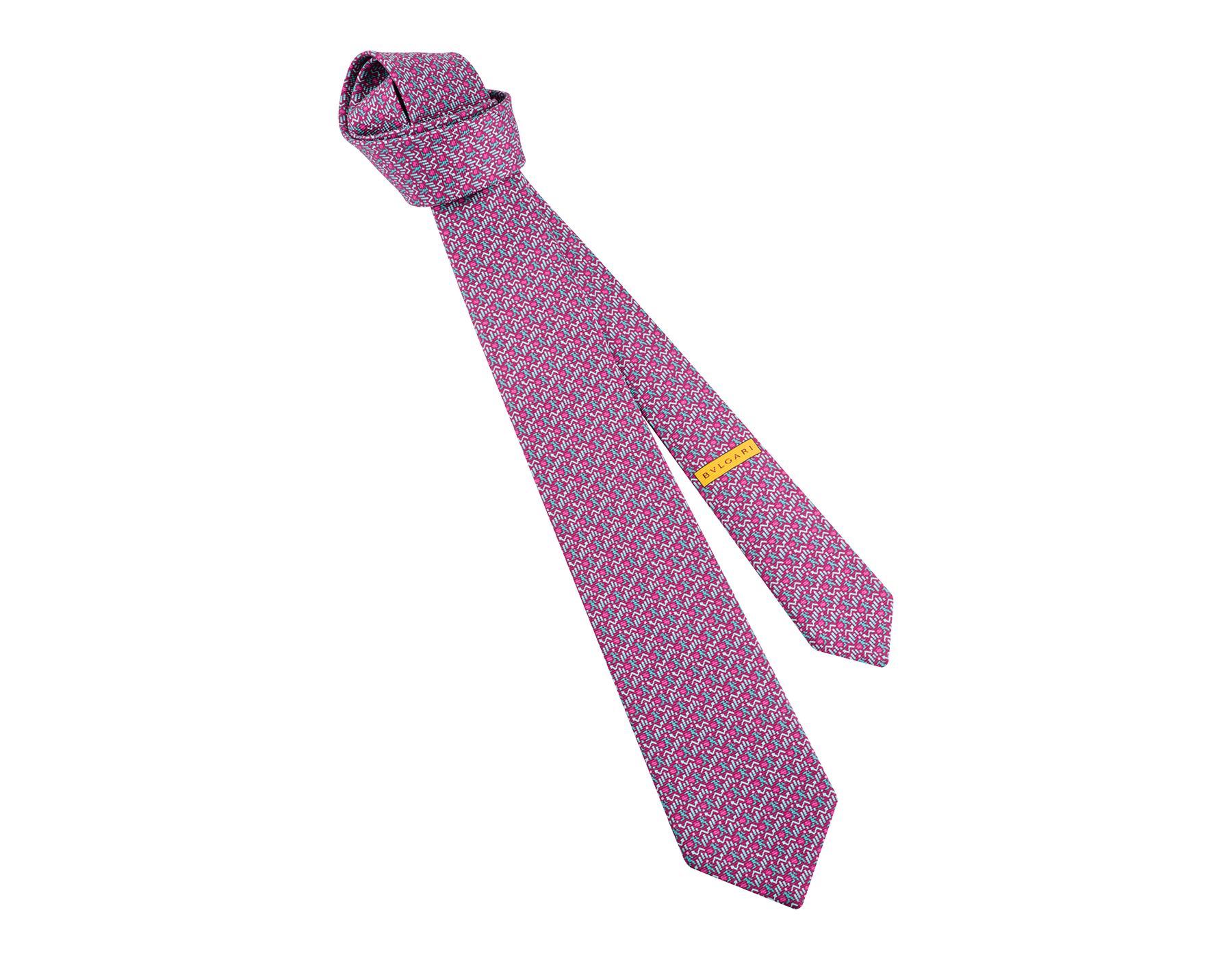 Fuchsia Running Business pattern seven-folds tie in fine saglione printed silk. 243655 image 1