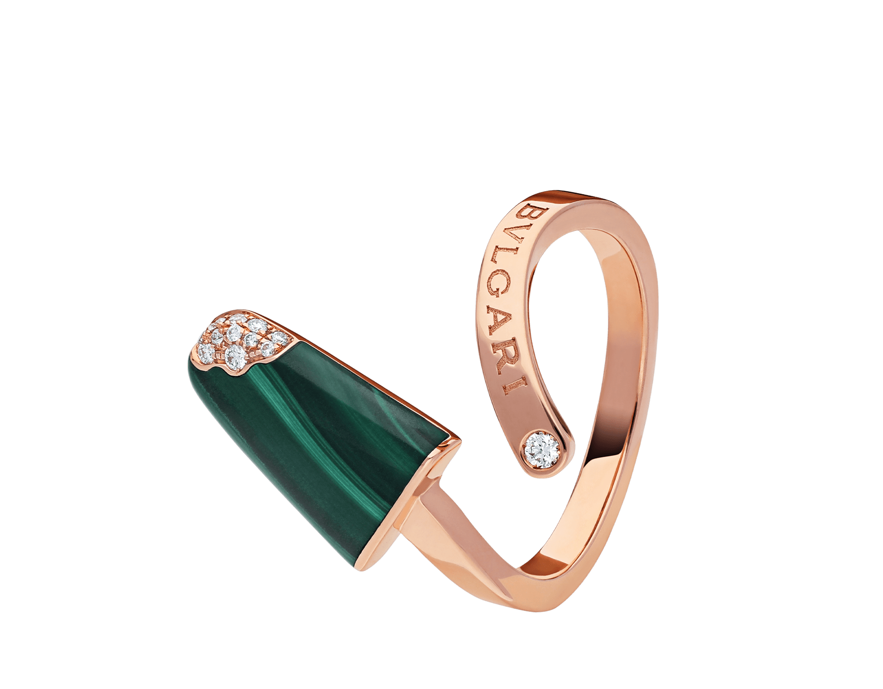 BVLGARI BVLGARI Gelati 18 kt rose gold ring set with malachite and pavé diamonds AN858329 image 2