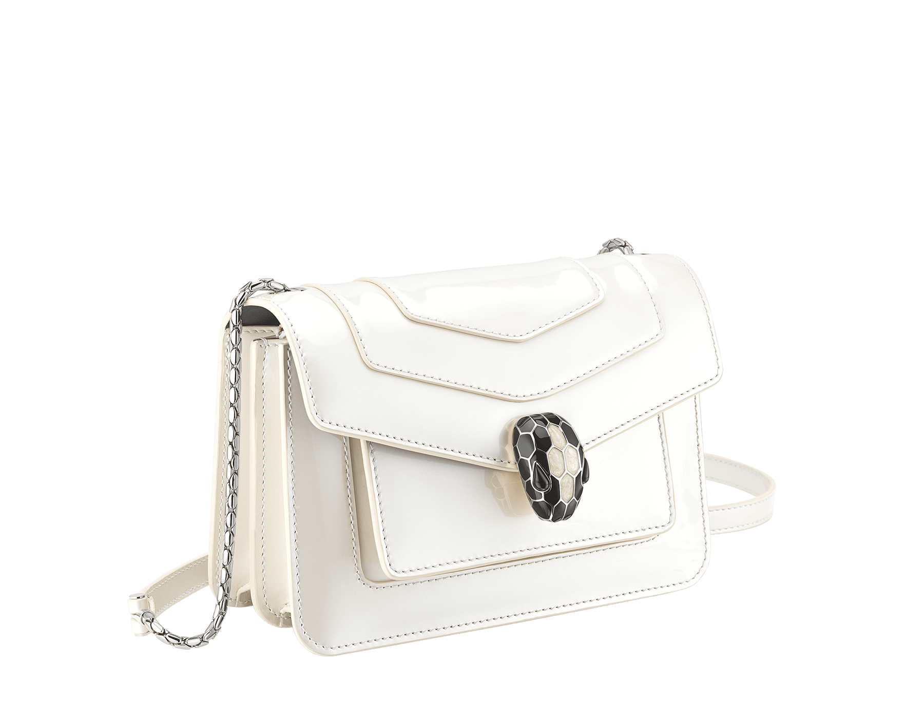 """Serpenti Forever"" crossbody bag in white agate calf leather with a varnished and pearled effect. Iconic snakehead closure in light gold plated brass enriched with black and pearled white agate enamel and black onyx eyes. 289771 image 2"