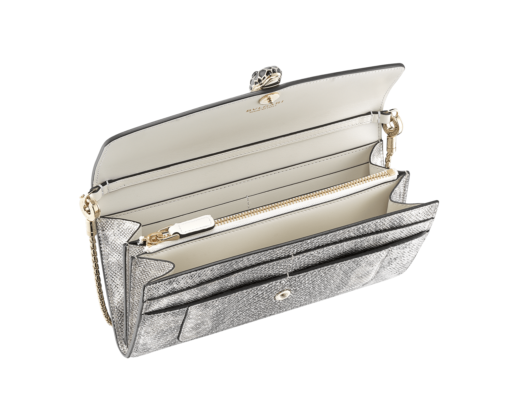 Serpenti Forever wallet pouch in white agate metallic karung skin and white agate calf leather. Iconic snakehead press-stud closure in black and white agate enamel, with black onyx eyes. 289310 image 2