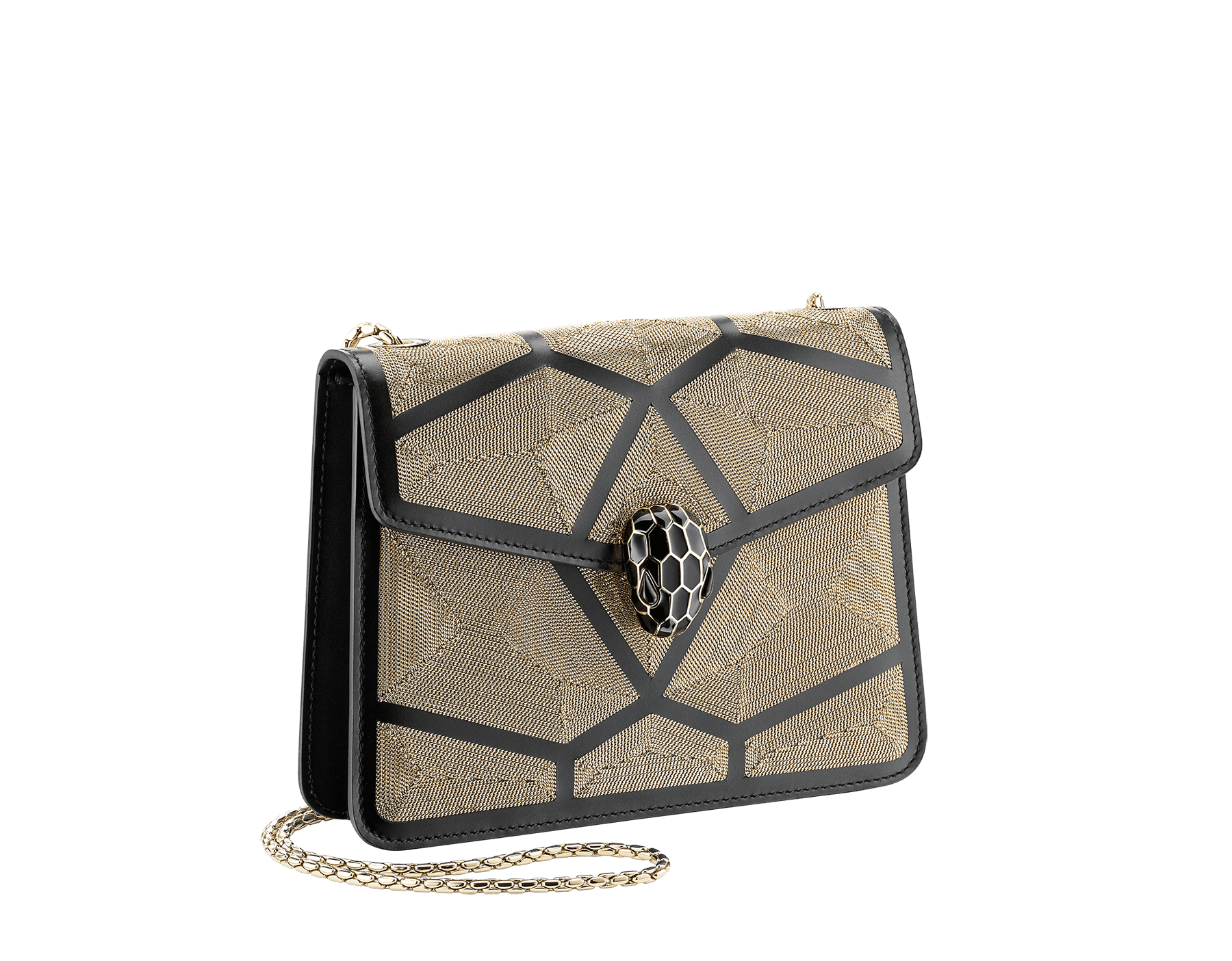 """Serpenti Forever"" crossbody bag in black calf leather with a Million Chain motif. Iconic snake head closure in light gold plated brass enriched with black enamel and black onyx eyes. 422-CP image 2"