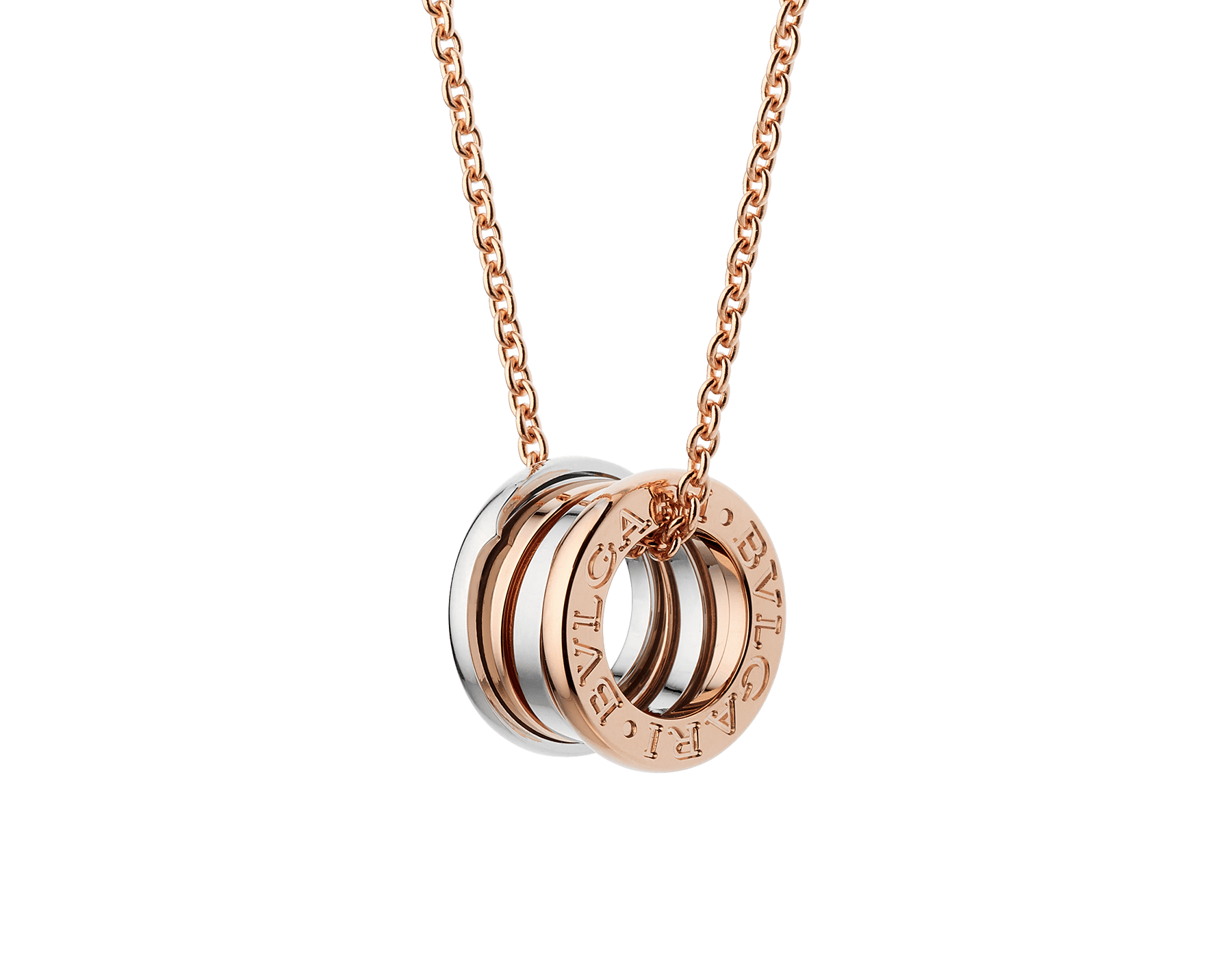 B.zero1 necklace with 18 kt rose and white gold pendant, 18 kt rose gold chain. 354903 image 1