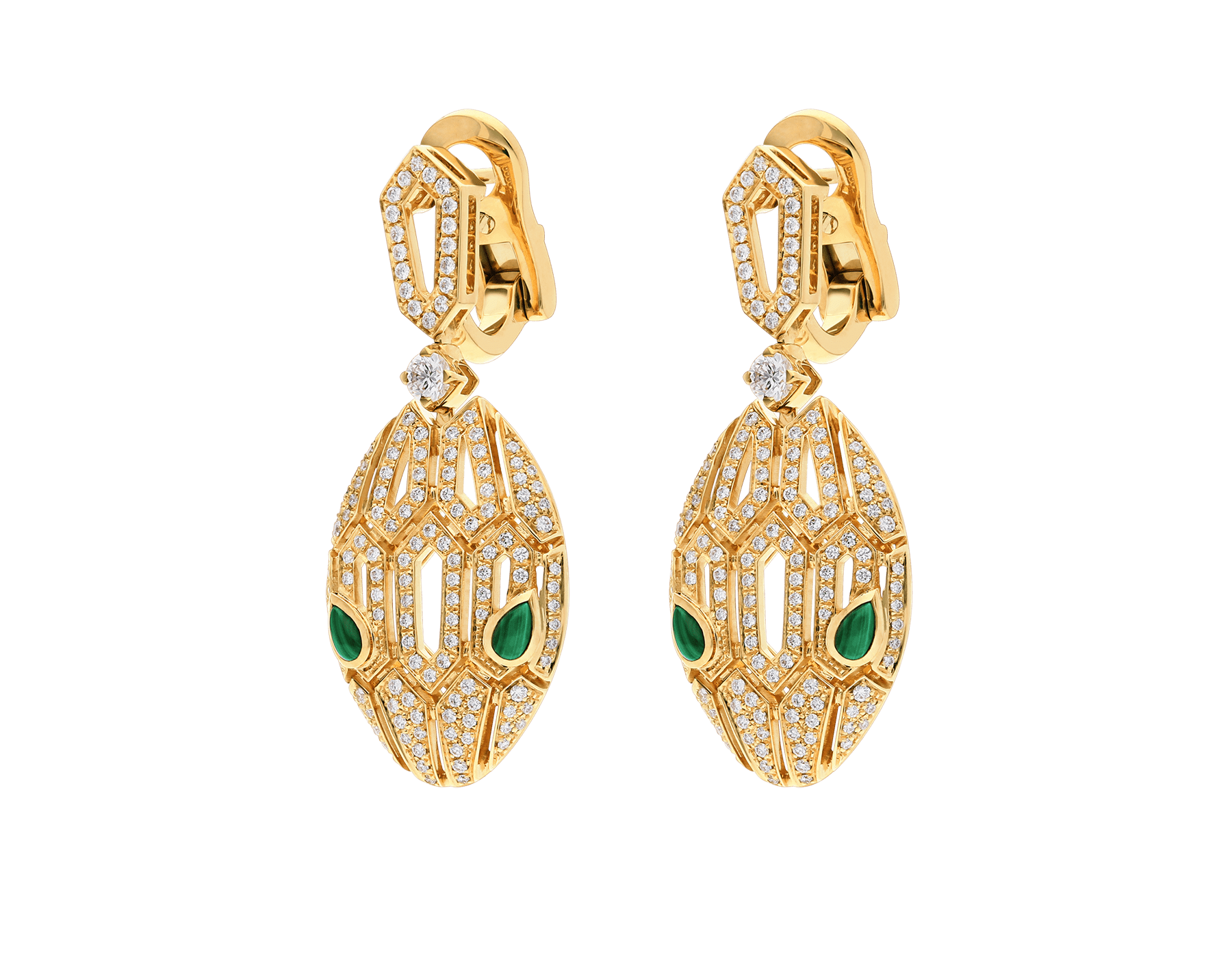 Boucles d'oreilles Serpenti en or jaune 18 K, yeux en malachite et pavé diamants 354576 image 2