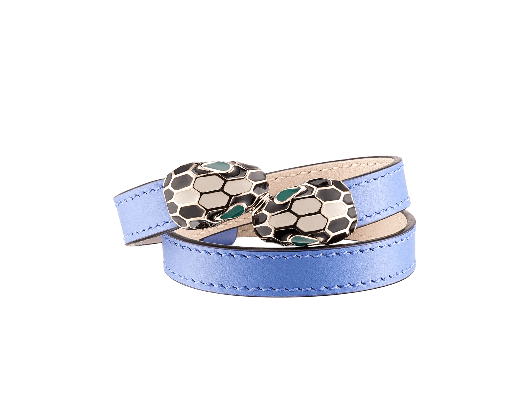 """Serpenti Forever"" multi-coiled bracelet in Lavender Amethyst lilac calf leather. Light gold-plated brass iconic contraire snakehead décor enameled in black and white agate and finished with seductive emerald green enamel eyes. MCSerp-CL-LA image 1"
