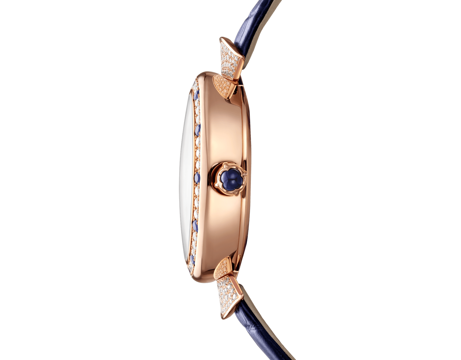 DIVAS' DREAM watch with mechanical manufacture movement, automatic winding, 18 kt rose gold case set with round brilliant-cut diamonds and sapphires, aventurine rotating discs with diamonds and printed constellations and dark blue alligator bracelet 102843 image 3