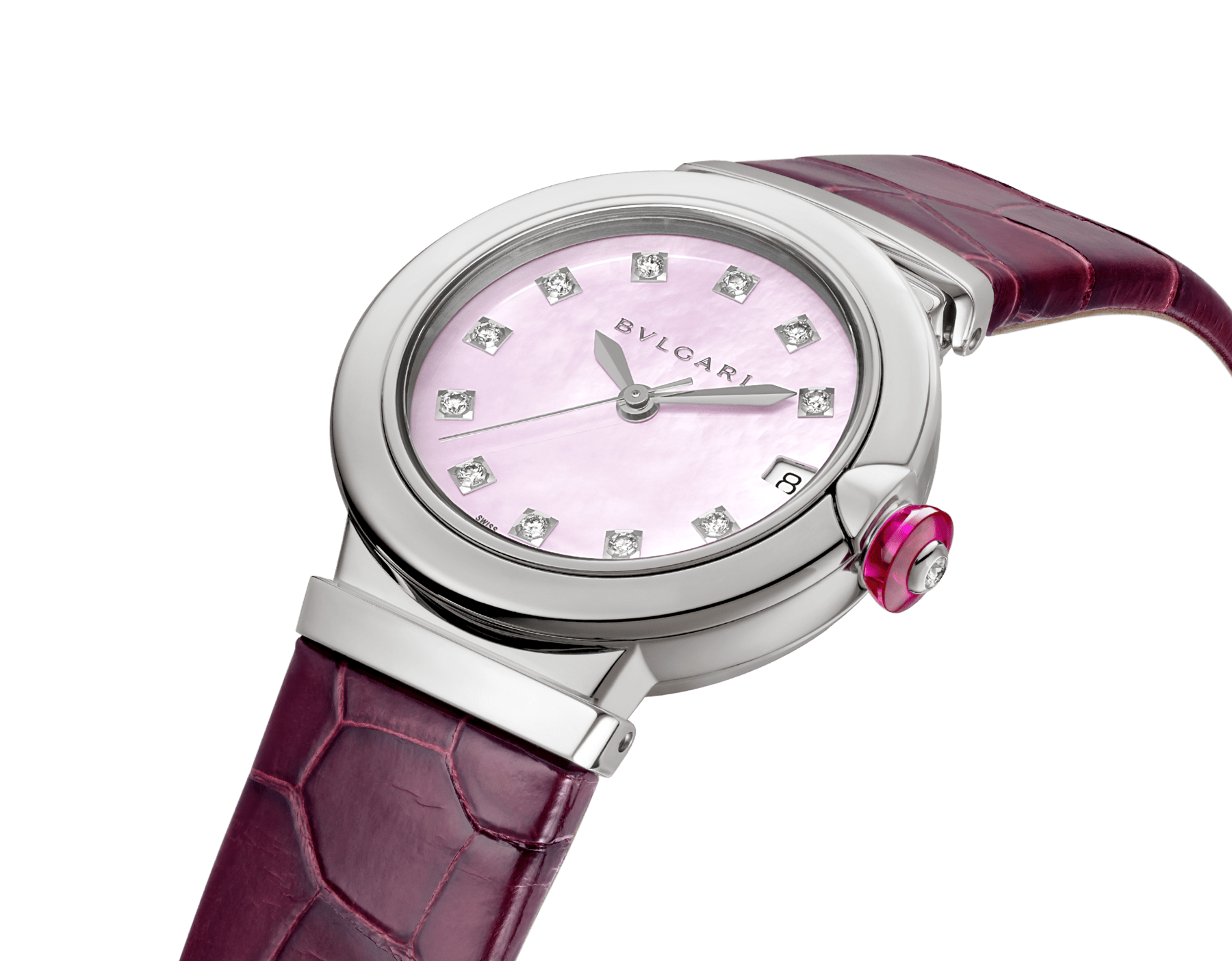 LVCEA watch with stainless steel case, pink mother-of-pearl dial, diamond indexes and burgundy alligator bracelet. 102609 image 3