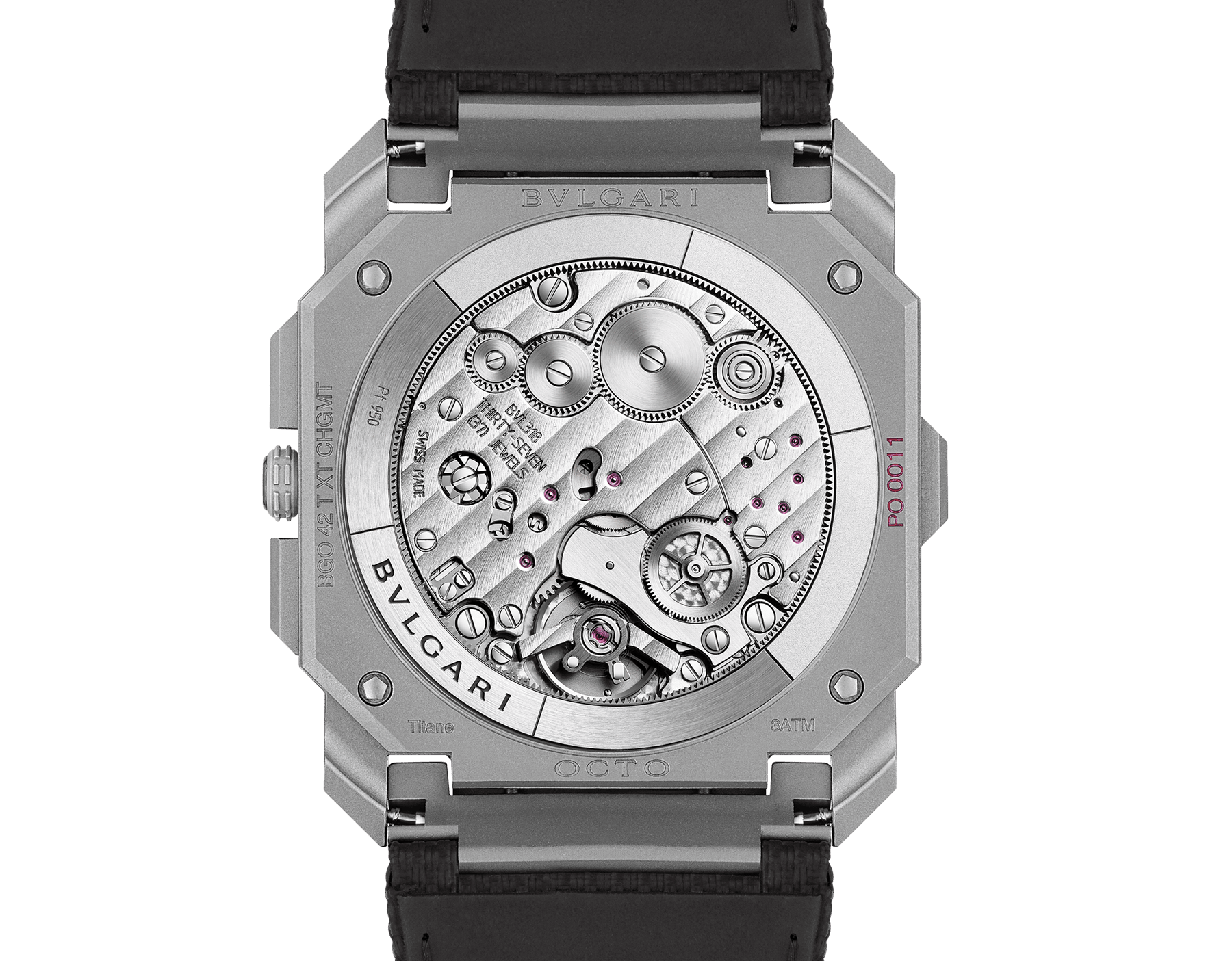 Octo Finissimo Chrono GMT watch with extra-thin mechanical manufacture chronograph and GMT movement, automatic winding with platinum peripheral rotor, titanium case, transparent case back, black dial and black rubber bracelet. Water-resistant up to 30 meters 103371 image 4