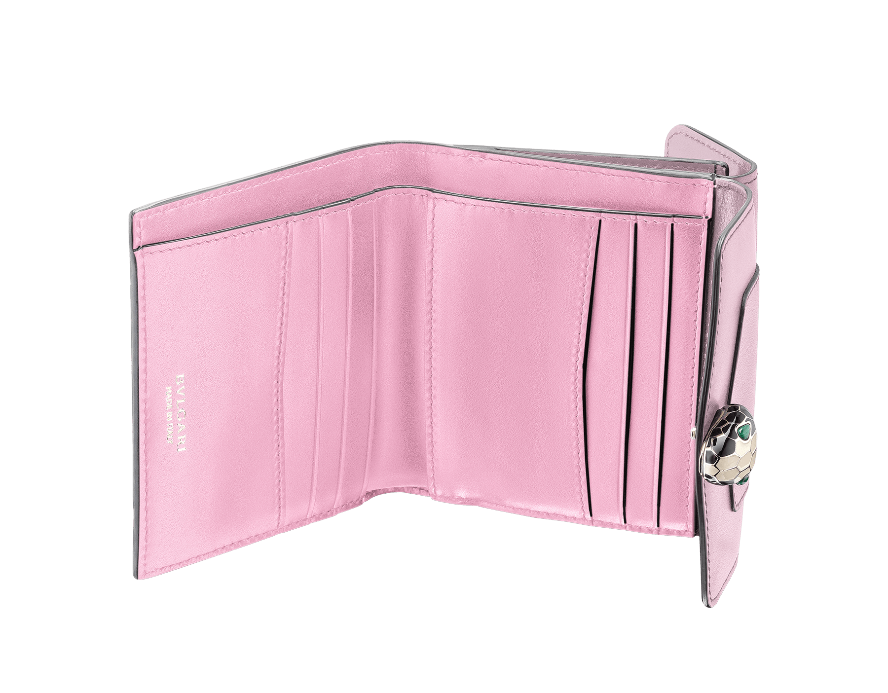 Serpenti Forever 方形小巧皮夾採用海星珊瑚色和粉紅尖晶石色小牛皮。經典蛇頭按扣飾以黑色和白色琺瑯,蛇眼鑲飾綠孔雀石。 SEA-WLT-COMPACT-3Fb image 2