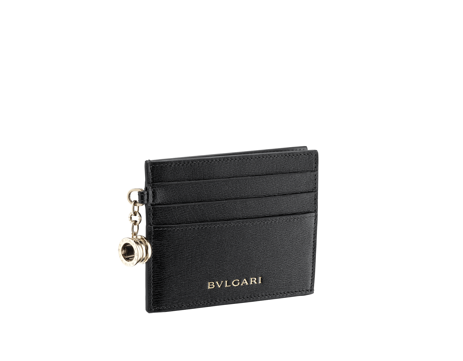 B.zero1 open credit card holder in black goatskin. Iconic B.zero1 charm in light gold plated brass. 288232 image 1