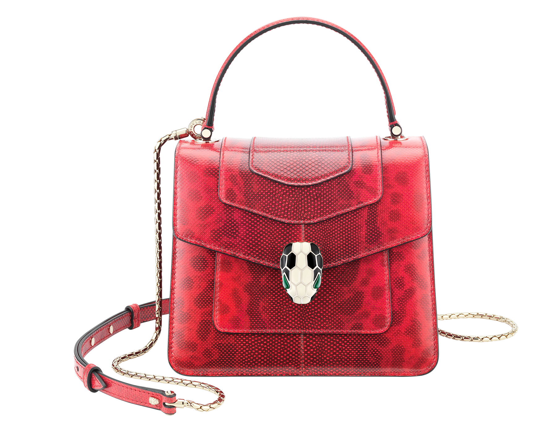 Serpenti Forever crossbody bag in sea star coral shiny karung skin. Snakehead closure in light gold plated brass decorated with black and white enamel, and green malachite eyes. 287915 image 1