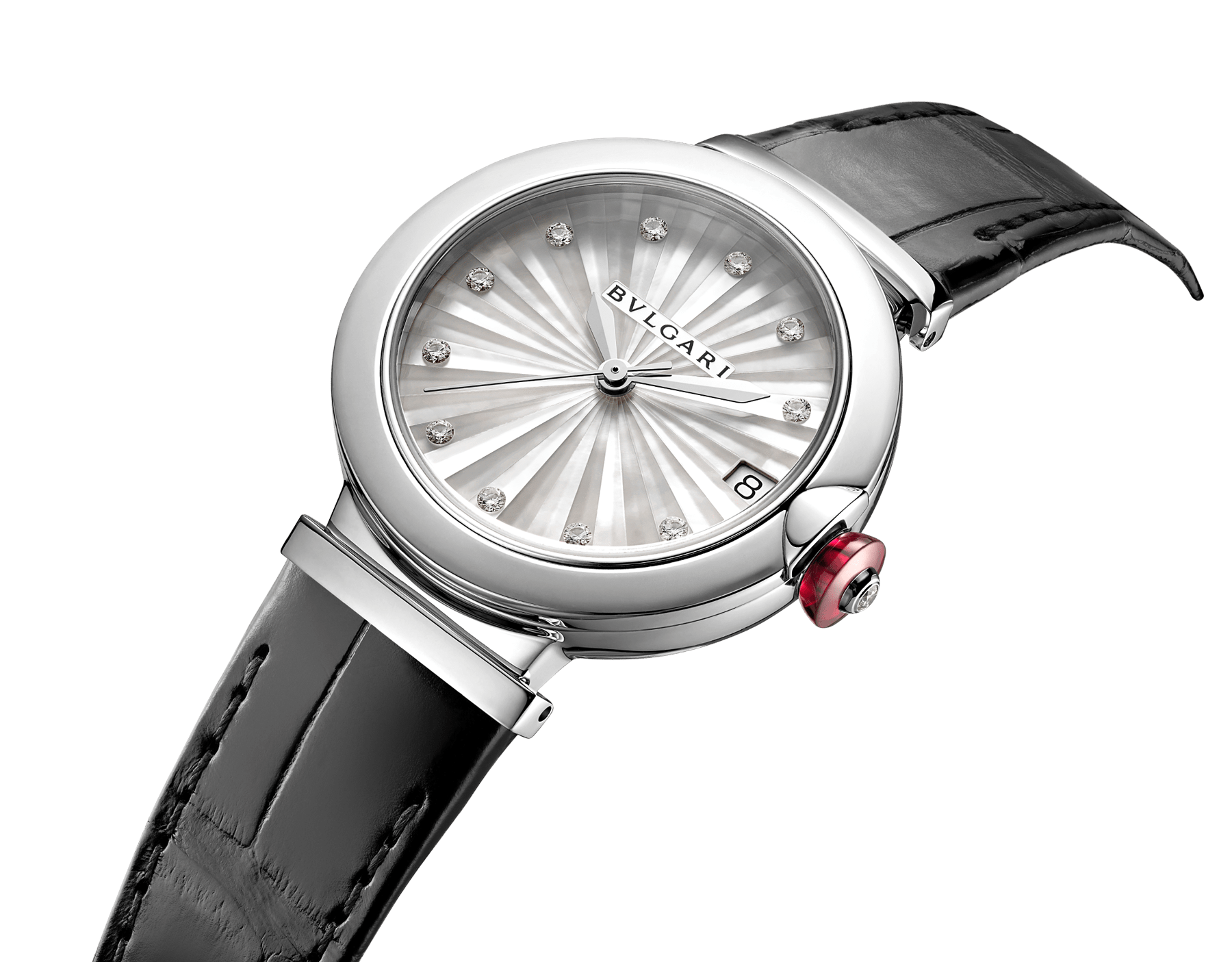 LVCEA watch with stainless steel case, white mother-of-pearl Intarsio marquetry dial, diamond indexes and black alligator bracelet 103478 image 2
