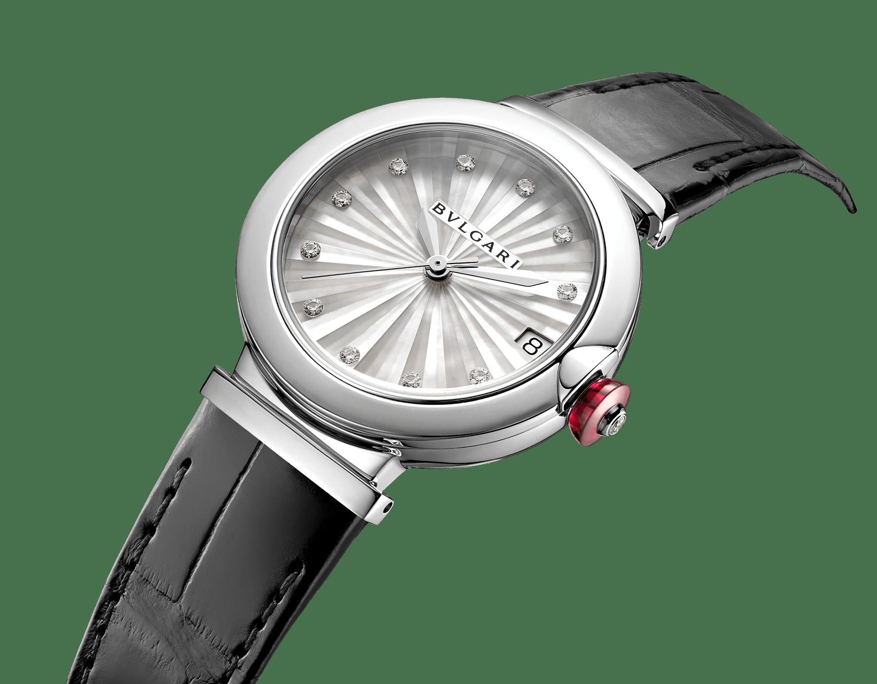 LVCEA Uhr mit Gehäuse aus Edelstahl, Zifferblatt mit weißem Perlmutt-Intarsio, Diamantindizes und schwarzem Armband aus Alligatorleder 103478 image 2