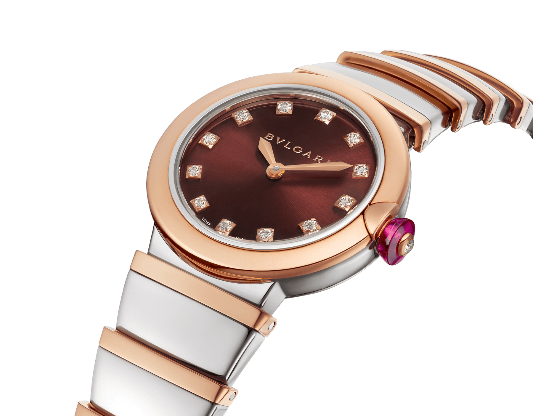 LVCEA watch in 18kt rose gold and stainless steel case and bracelet, and brown dial set with diamond indexes. 102691 image 2