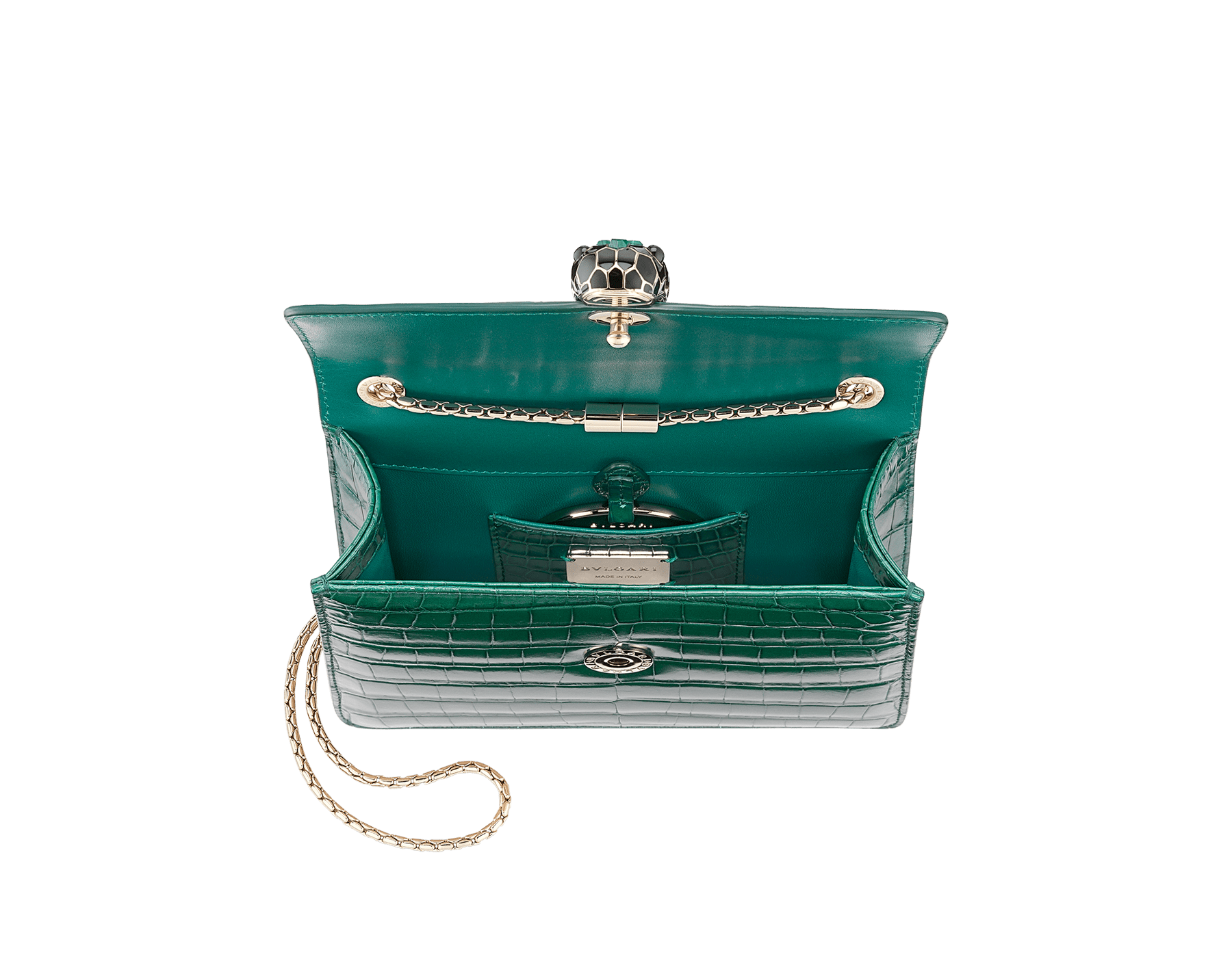 """Serpenti Forever"" crossbody bag in white agate crocodile skin with an iridescent and pearled effect. Iconic snake head closure in light gold plated brass enriched with black enamel and mother-of-pearl scales, and blue lapis lazuli eyes. 422-CR image 4"