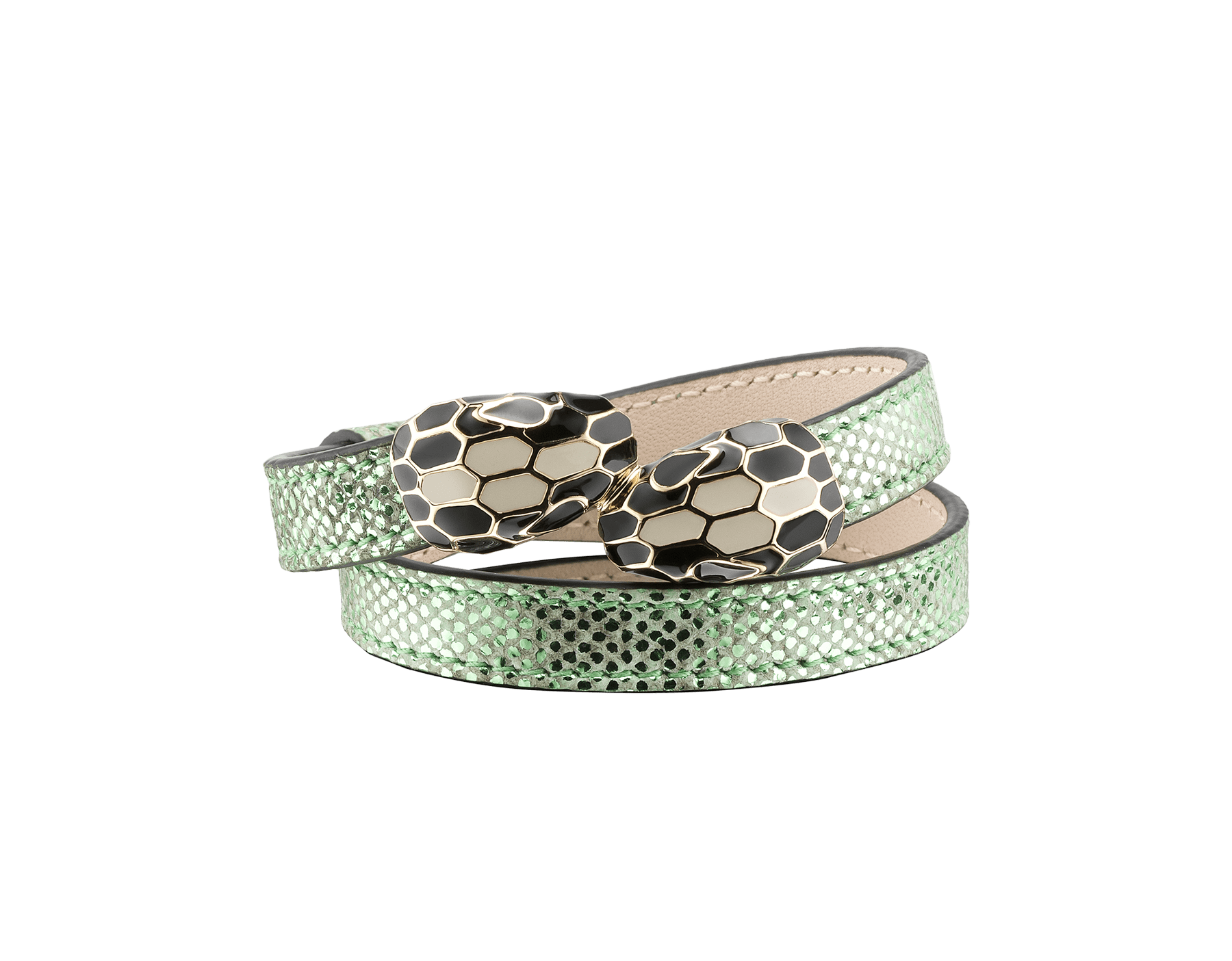 """Serpenti Forever"" multi-coiled bracelet in mint metallic karung, with brass light gold plated hardware. Iconic contraire snakehead décor enameled in black and white and finished with seducing black enamel eyes. MCSerp-MK-M image 1"