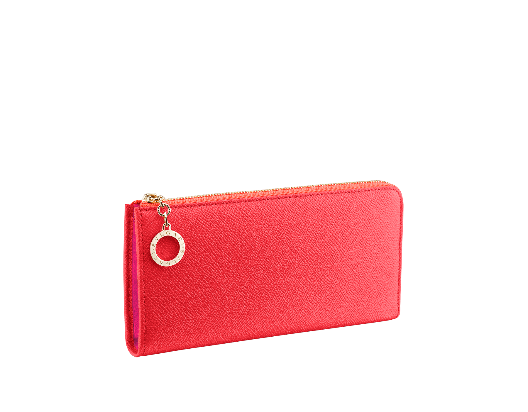 BVLGARI BVLGARI L-shaped zipped wallet in sea star coral bright grain calf leather and pink spinel nappa. Iconic logo zip puller in light gold plated brass. 288172 image 1