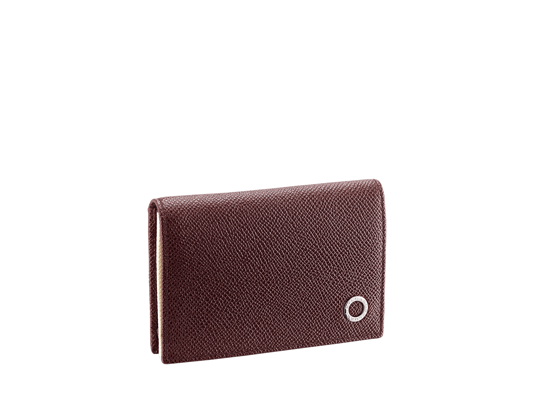 """""""BVLGARI BVLGARI"""" men's business card holder in Oxblood bordeaux and Ivory Opal white grain calf leather. Palladium-plated brass embellishment with logo. 291149 image 1"""