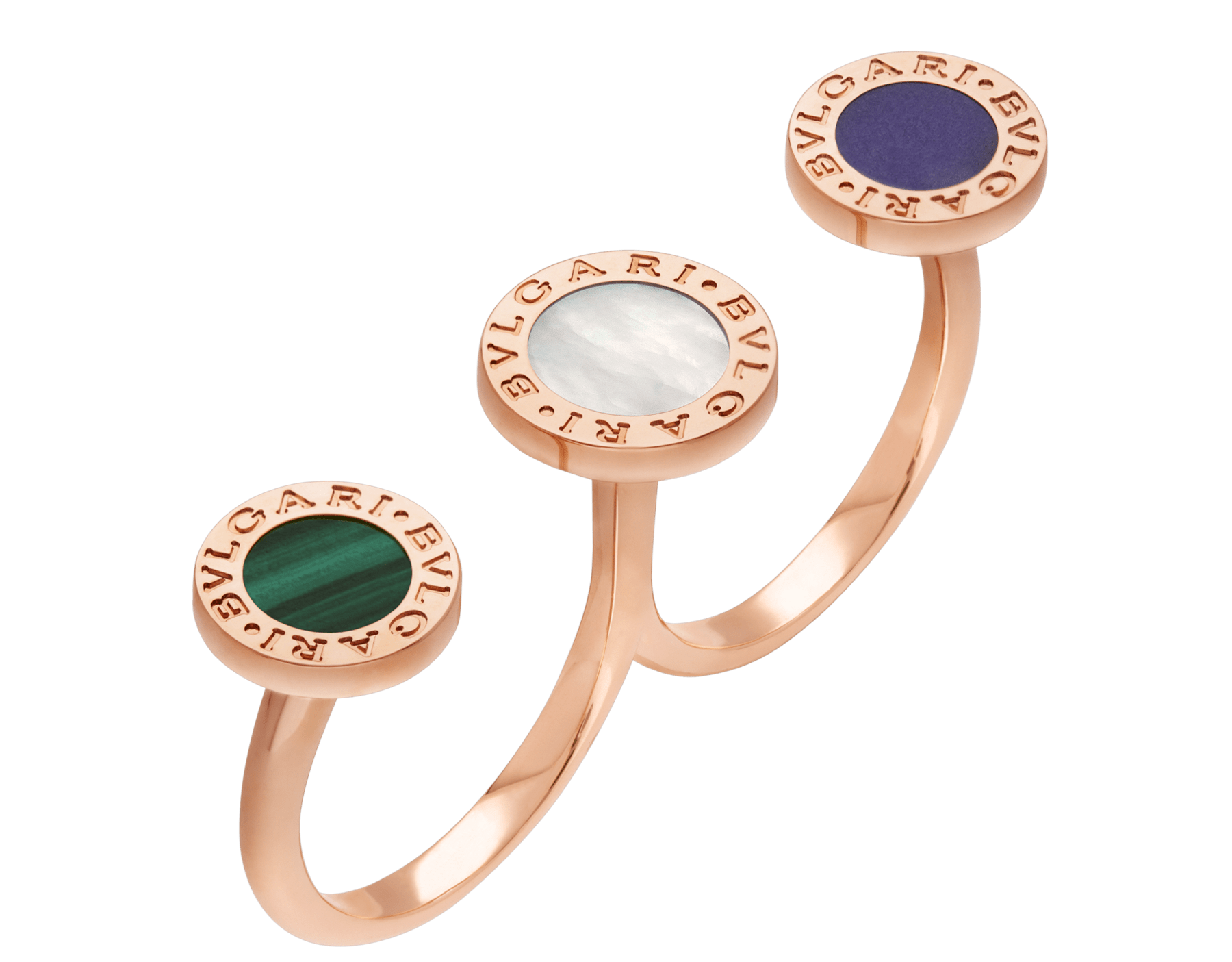 BVLGARI BVLGARI open ring in 18 kt rose gold set with mother-of-pearl, malachite and sugilite elements AN858545 image 1
