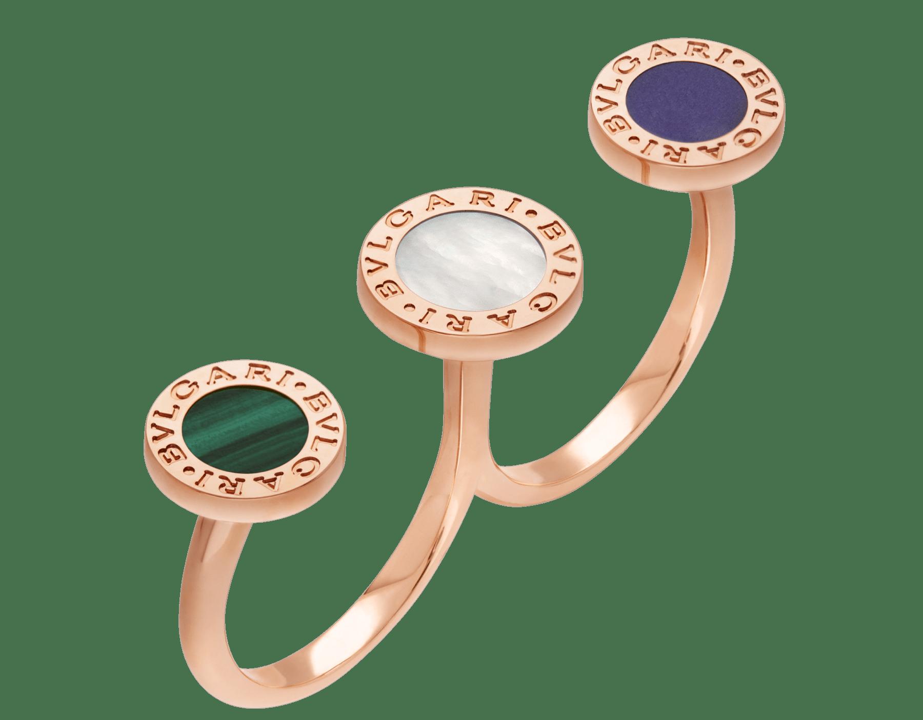 Anillo entre dedos BVLGARI BVLGARI en oro rosa de 18qt con elementos de madreperla, malaquita y sugilita engastados AN858545 image 1