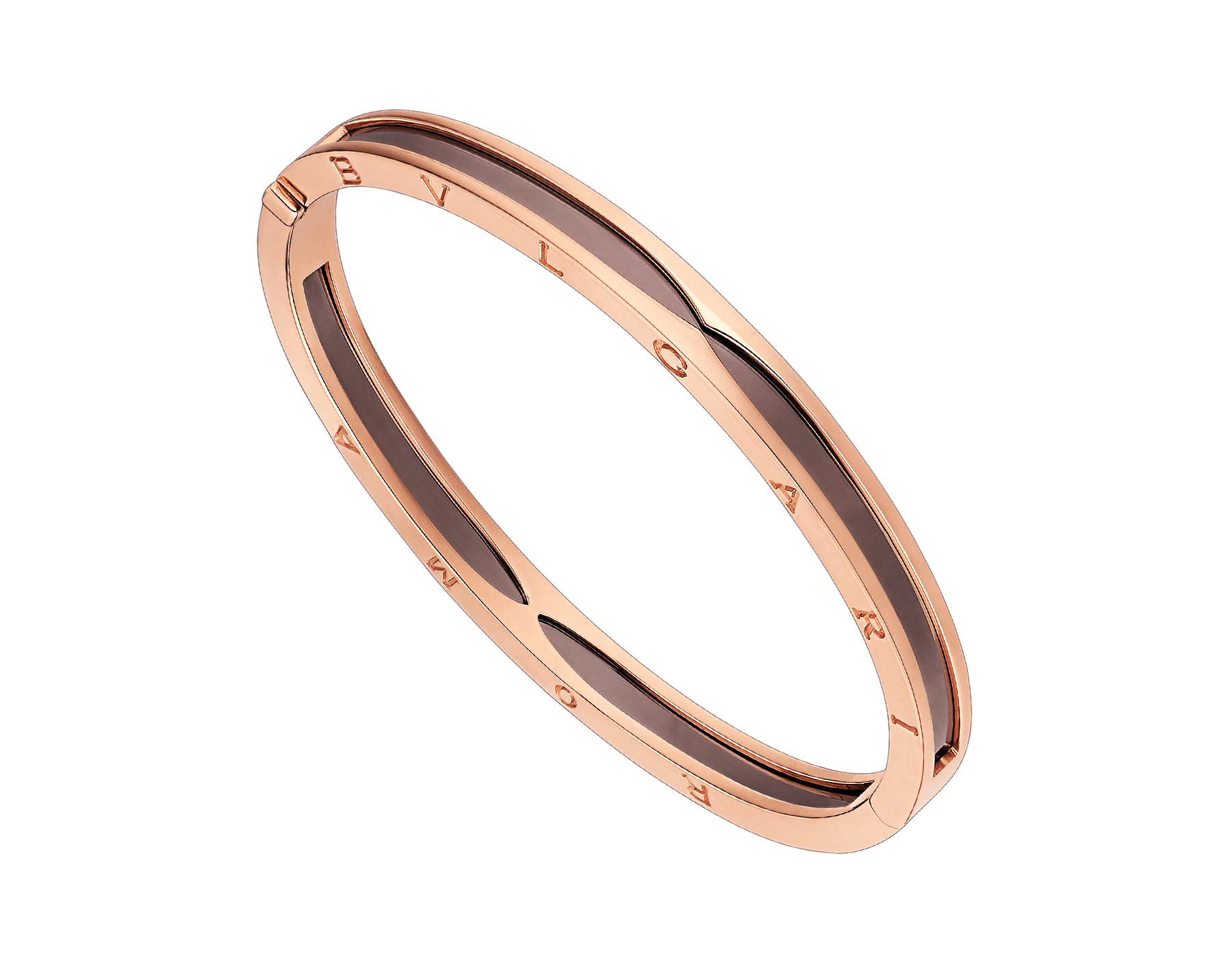 B.zero1 bangle bracelet in 18 kt rose gold and cermet. BR857945 image 1
