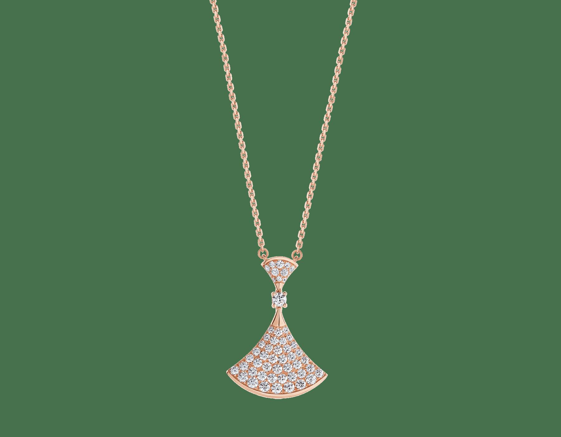 DIVAS' DREAM 18 kt rose gold pendant necklace set with a round brilliant-cut diamond (0.10 ct) and pavé diamonds (0.83 ct) 358121 image 1