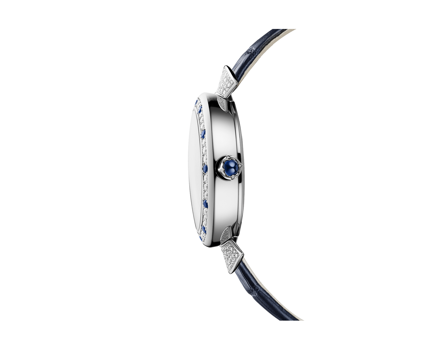 DIVAS' DREAM watch with mechanical manufacture movement, automatic winding, 18 kt white gold case set with round brilliant-cut diamonds and sapphires, aventurine rotating discs with diamonds and printed constellations and dark blue alligator bracelet 102842 image 2