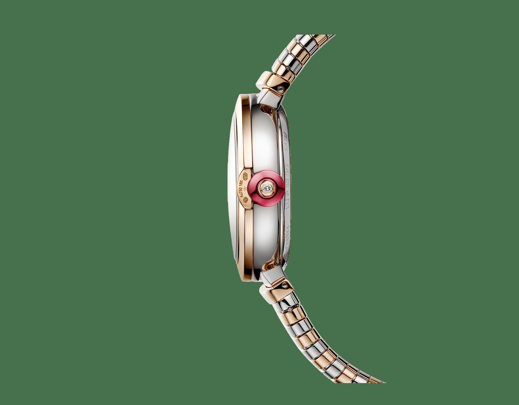 LVCEA Tubogas Uhr mit Gehäuse und Tubogas-Armband aus 18 Karat Roségold und Edelstahl, weißem Perlmuttzifferblatt und Diamantindizes 102954 image 2