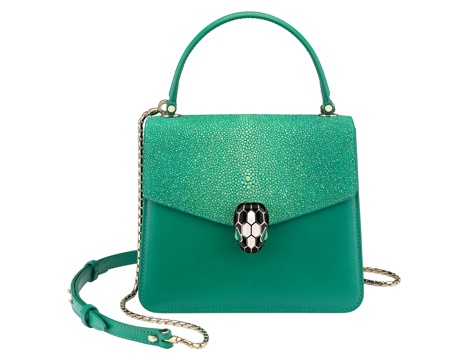 Serpenti Forever crossbody bag in sea star coral galuchat skin and smooth calf leather. Snakehead closure in light gold plated brass decorated with black and white enamel, and green malachite eyes. 752-Ga image 1