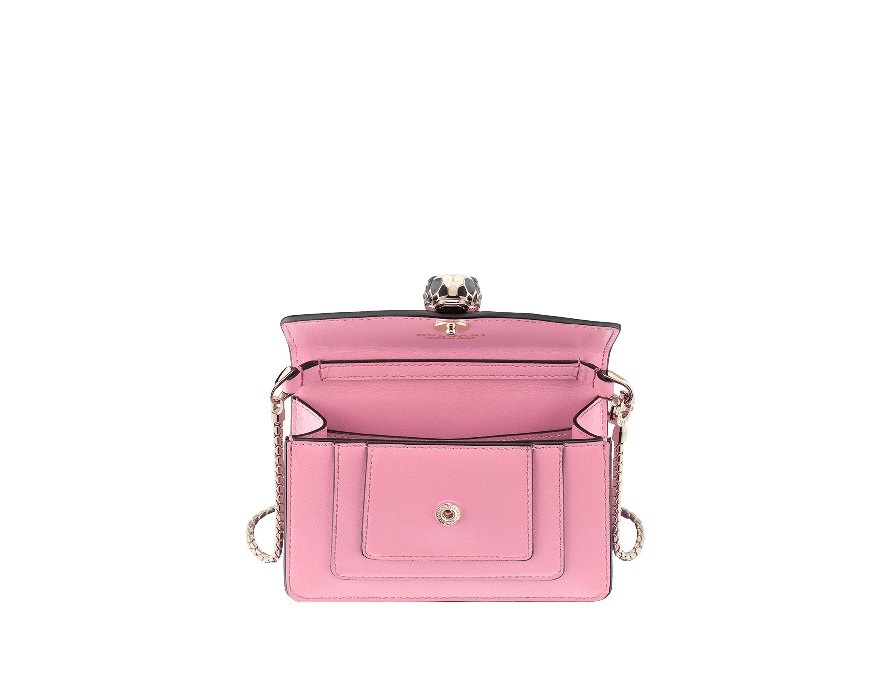 Bag charm Serpenti Forever miniature in flamingo quartz calf leather, with bordeaux calf leather lining. Iconic brass light gold plated snakehead stud closure enameled in black and white and finished with green enamel eyes. 288369 image 2