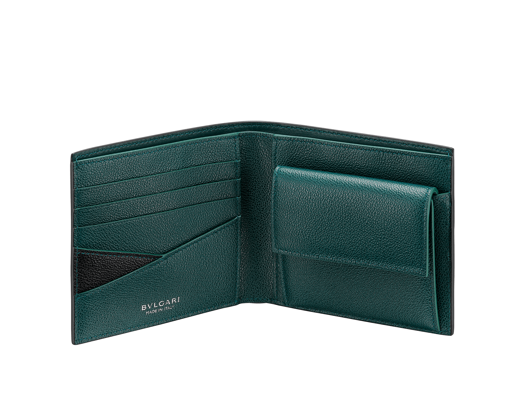 """""""BVLGARI BVLGARI"""" men's compact wallet in black and Forest Emerald green """"Urban"""" grain calf leather. Iconic logo embellishment in dark ruthenium-plated brass with black enameling. BBM-WLTITALASYM image 2"""
