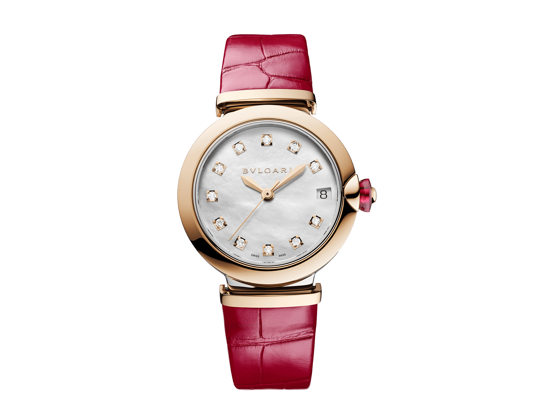 LVCEA watch with stainless steel case, 18 kt rose gold bezel, white mother-of-pearl dial, diamond indexes and fuchsia leather bracelet 102997 image 1