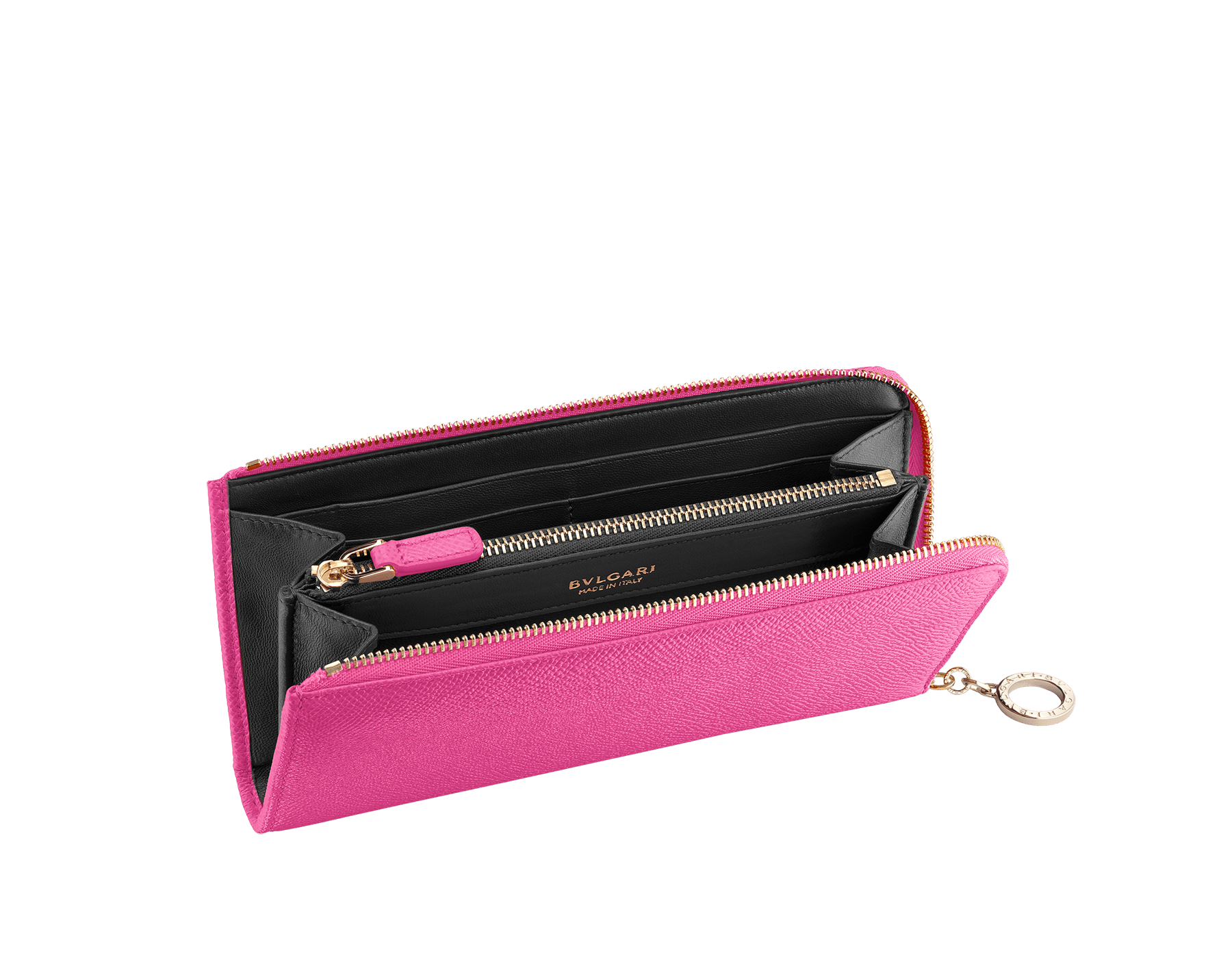 BVLGARI BVLGARI L-shaped zipped wallet in cobalt tourmaline bright grain calf leather and aster amethyst nappa. Iconic logo zip puller in light gold plated brass 579-WLT-MZP-SLIM-Lc image 2