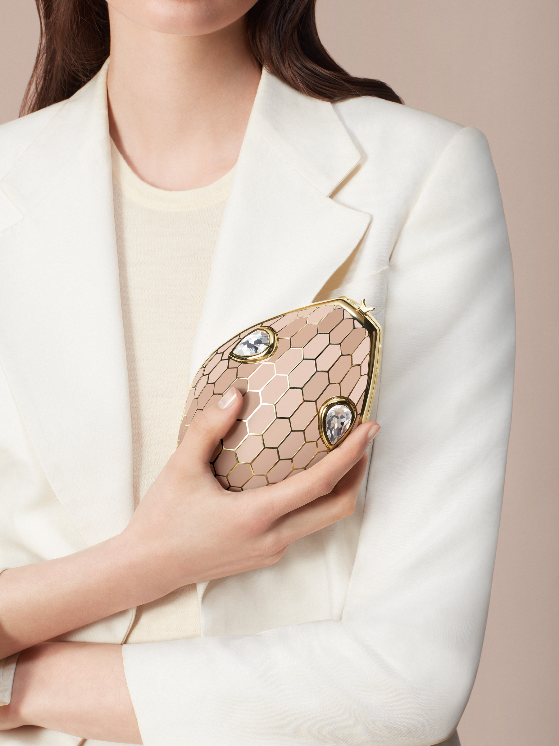 """""""Mary Katrantzou x Bvlgari"""" minaudière in light gold-plated brass with multicolour enamel scales, finished with seductive crystal eyes. Special Edition. MK-1153 image 3"""