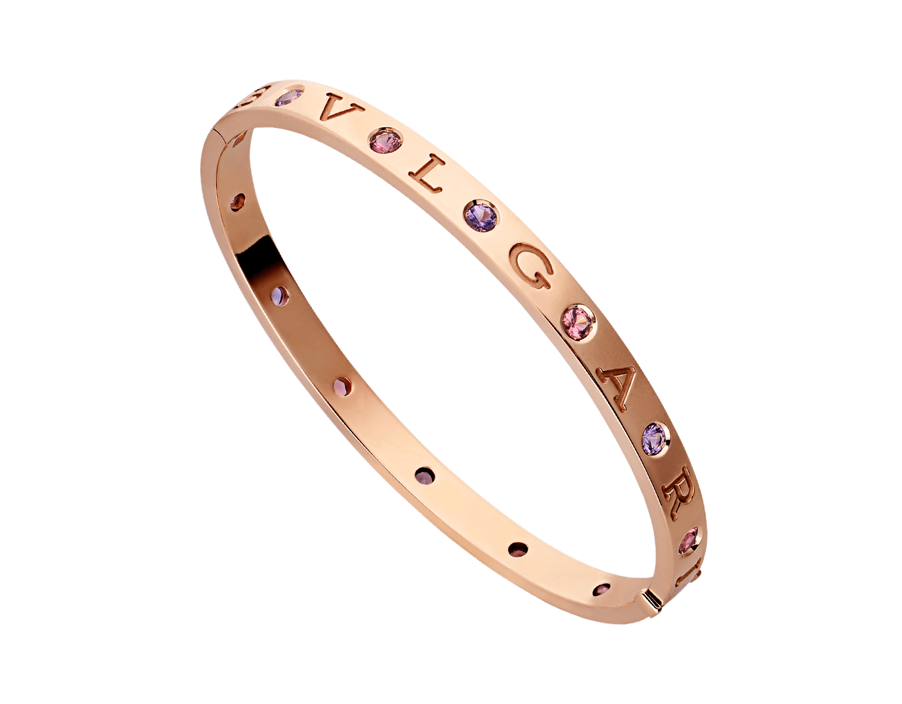 BVLGARI BVLGARI 18 kt rose gold bangle bracelet set with six amethysts and six pink tourmalines BR857613 image 1