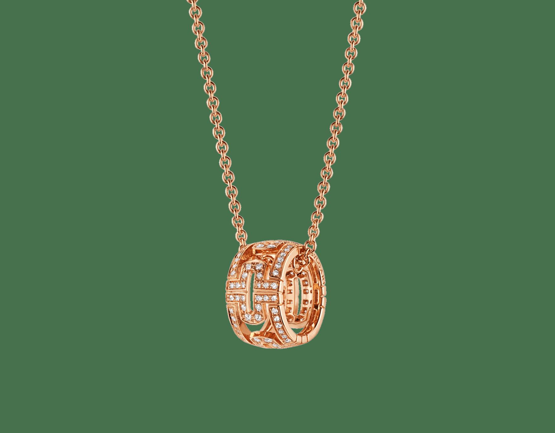 Collier Parentesi avec chaîne en or rose 18K et pendentif rond en or rose 18K pavé diamants 343471 image 1