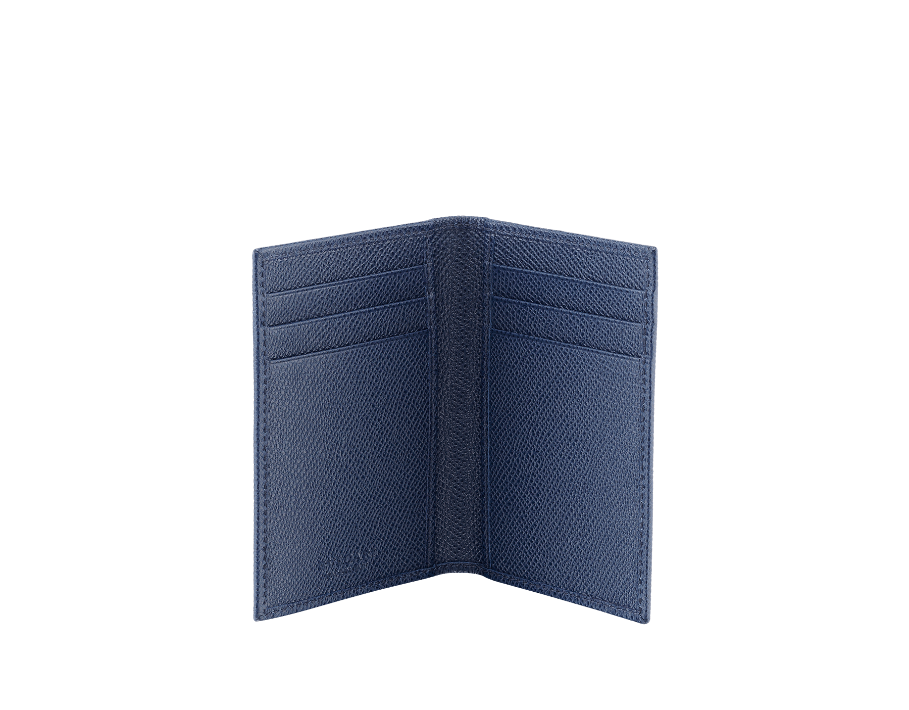 Folded credit card holder in denim sapphire calf leather with brass palladium plated Bulgari Bulgari motif. Six credit card slots and two compartments. Also available in other colours. 8 x 11,5 cm. - 3.1 x 4.5 280294 image 2