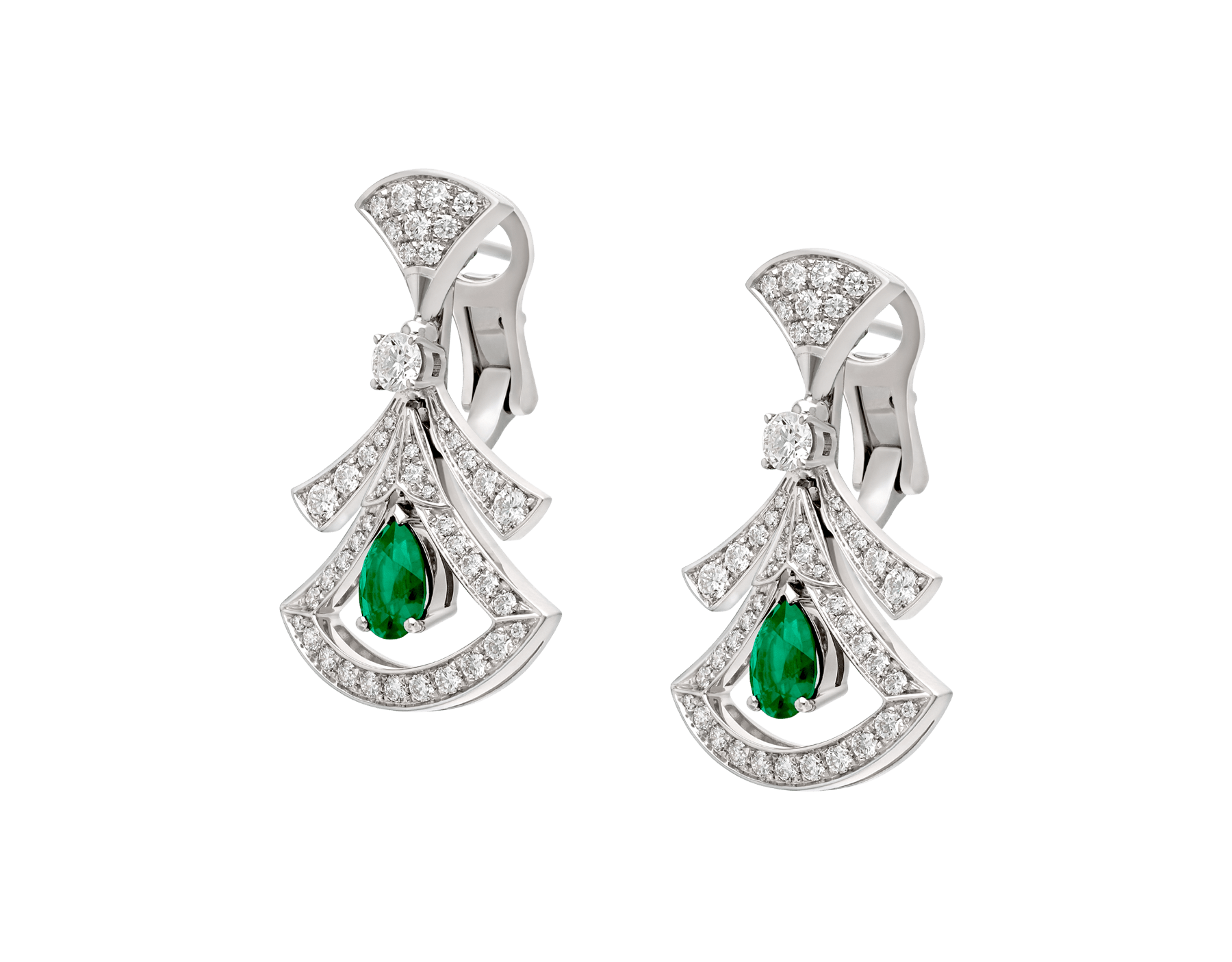 DIVAS' DREAM 18 kt white gold openwork earring set with pear-shaped emeralds, round brilliant-cut and pavé diamonds. 356956 image 2